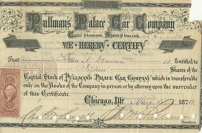 1870 Pullman's Palace Car Company stock signed by George Pullman * pays for meds