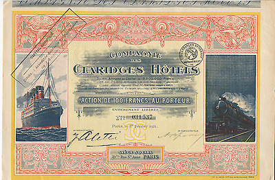1921 COMPAGNIE DES CLARIDGES HOTELS Bond FRANCE with COUPONS *Pays cancer bills