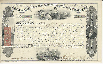1865 DELAWARE MUTUAL SAFETY INSURANCE COMPANY Dividend Certificate REVENUE STAMP