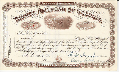 TUNNEL RAILROAD OF ST. LOUIS Stock Certificate MISSOURI Vignette Pay cancer bill