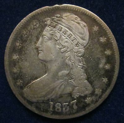 1837 Capped Bust Silver Half Dollar 50C Fifty Cents Coin Reeded Edge!