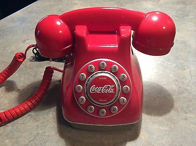 Working Coca Cola Collectible Desk Phone with Cord / Red Push Button with Box