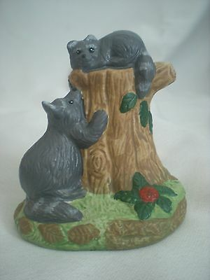 Porcelain Figurine Raccoons on Tree Trunk Wildlife Animals Gift Collection