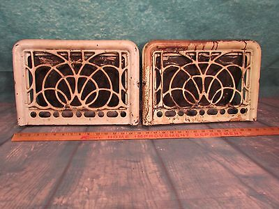 2 Antique Iron Floor to wall grate Very Ornate unusural design green paint