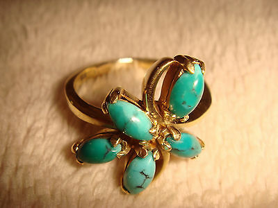 Vintage Art-Deco Hand-Made 18 Kt Gold & Persian Turquoise Flower Form Ring  5.5