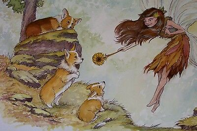 OOAK ORIGINAL Pembroke Welsh Corgi & Fairy Watercolor by Christian Slade