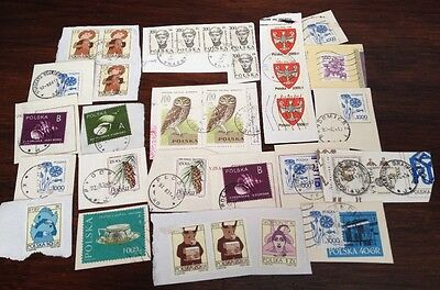 Assorted Stamps from Poland Polska - unsoaked on paper
