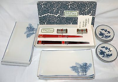 AUTHENTIC JAPANESE 2 SETS CHOPSTICKS & RESTS + 4/5 SUSHI PLATES- bought in Japan