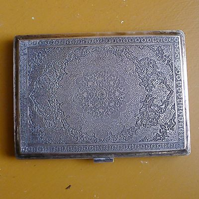 Beautifully Engraved Antique 1950's Persian Sterling Silver Cigarette Case