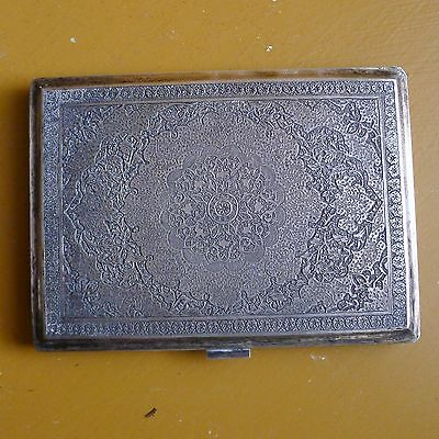 Beautifully Engraved Antique 19th Century Persian Sterling Silver Cigarette Case
