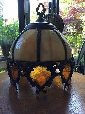 Vintage Small Slag Carmel Glass 8 Panel Lamp Shade 8 Amber Glass Heart Panels