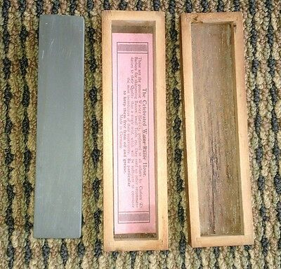 """Vintage """" Celebrate Water Razor Hone  d.blue esche quality in labeled wooden box"""