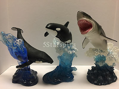 Set of 3 Leaping Great White Shark, Orca, humpback whale sculpture figure statue