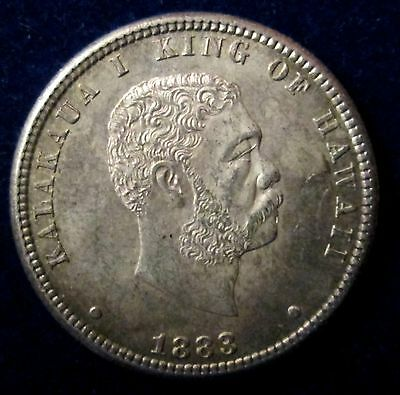 1883 Kingdom Of Hawaii Silver Quarter 25C King Kalakaua High Grade Coin!