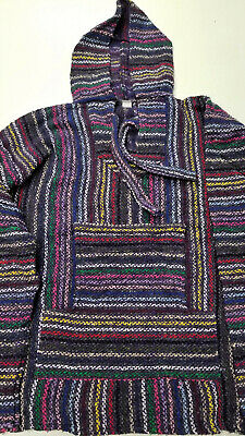 Mexican Baja Hoodie, Surfer, Pullover, Poncho, Hippie, Jerga, Kid's size 2
