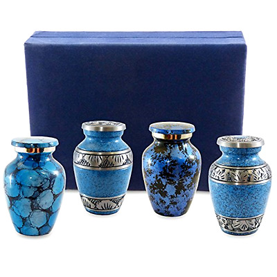 Classic Blue Small Mini Cremation Keepsake Urns for Human Ashes Classy Elegant