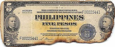 Philippines  5 Pesos ND. 1944  P 96  Victory Series  Circulated Banknote MXM31EP