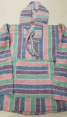 Mexican Baja Hoodie, Surfer, Pullover, Poncho, Hippie, Jerga, Kid's size 6