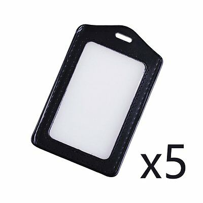 5pcs ID Badge Holder Vinyl Case Clear with Color Border and Lanyard Holes Black