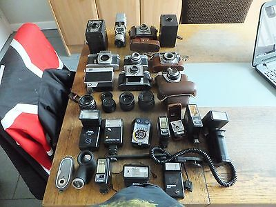 26 Vintage Cameras. Lenses. A Flash Lights