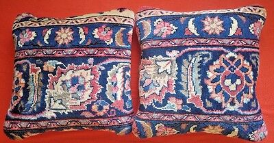 Pair of Antique Handmade Decorative Pillows made of Antique Persian Bijar Rug