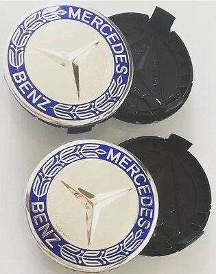 4x Mercedes Benz Centre Caps Blue Chrome For Genuine Alloy Wheels 75mm