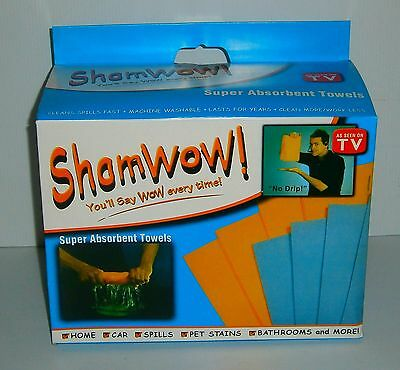 ORIGINAL SHAMWOW SUPER ABSORBENT TOWELS x 4 SUPERSHAMS GERMAN MADE BNIB