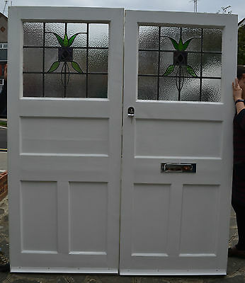 Leaded light stained glass 1920s/30s front double doors (pair) R308. DELIVERY!