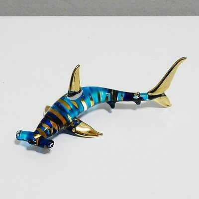 Hammerhead Shark Figurine Hand Paint Blown Glass Home Decorate Collectible Gift