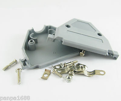 10sets D-Sub DB37 37Pin Plastic Hood Cover for 37 Pin 2 Row D-Sub Connector Grey