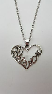 """Sweet Mom Heart with Rhinstones Necklace. 18"""" Chain"""