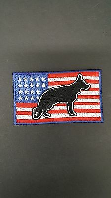 """German Shepherd USA Flag Embroidered Patch Approx Size 2""""x3"""""""