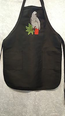 African Grey Parrot, Bird Embroidered on A Black Apron