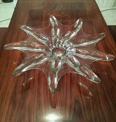 Rare 1960's Art Vannes France Large Crystal Glass Starfish Centerpiece Bowl 20""
