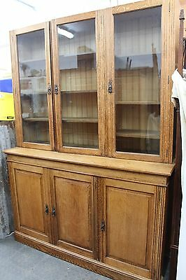 Antique Oak Panel and Glazed Bookcase on Cupboard / Display Cabinet / Edwardian