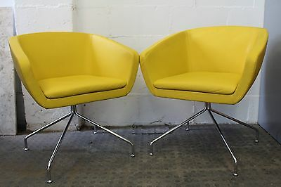 Modern Pair of Yellow Sitia Italian Leather Retro Style Ginkgo Armchair
