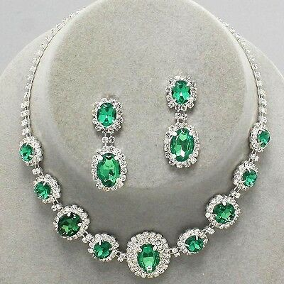 Green silver tone rhinestone crystal necklace set brides proms party sparkly 249
