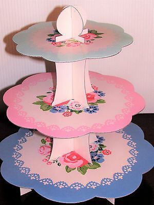 3 Tier Cake Stand - Cardboard - Afternoon Tea Party Cake Display Floral Design