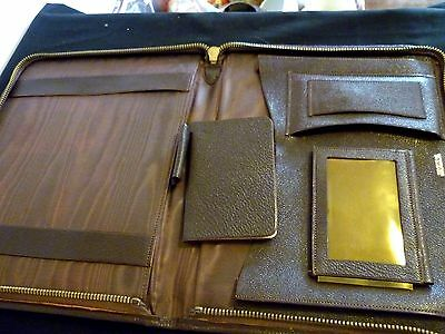 A Vintage Dark Brown Leather Document Holder/stationary Organizer - Keystone