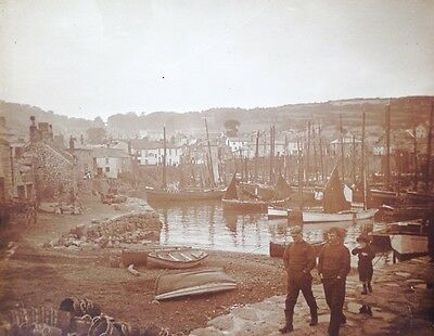 Original large vintage photograph of harbour and fishermen Mousehole