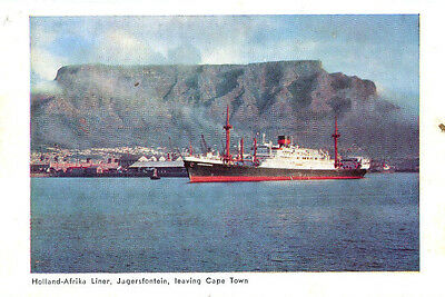 1950s postcard Holland-Afrika Liner Jagersfontein leaving Cape Town South Africa