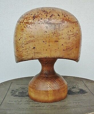 Unusual Vintage Helmet Shape Wooden Hat Block/Form with Stand Millinery Display