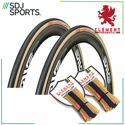 Pair of Clement Pneumatici Strada LGG 700 x 28c Folding Tan Gum Road Bike Tyres