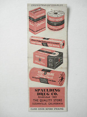 Spaulding Drug Co. Established 1865 California  U.s.a. Matchcover Vintage