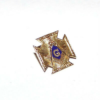 Vintage Masonic 10K Gold Square And Compass & Cross Lapel Pin