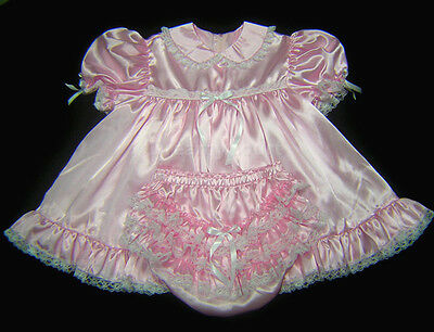 Adult Sissy Baby Satin Baby Dress Pink
