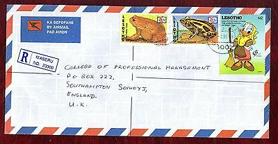 "LESOTHO STAMPS-Frogs 50s,1m + Disney duck 2m, airmail ""R"" to UK, 1996"