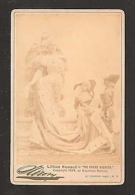 """1894 Sarony Cabinet Card - Lillian Russell """"The Grand Duchess"""" Union Square NY"""