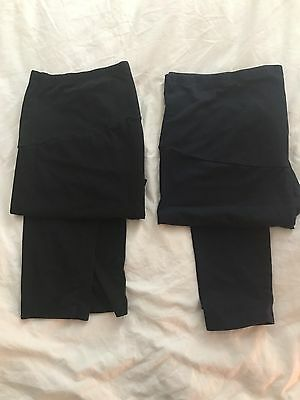 Two Pairs Marks And Spencer's Maternity Leggings 1 Black 1 Navy Size 18