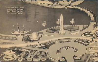 1933 Chicago World's Fair Postcard Aerial View Byrd's South Pole Ship Havoline